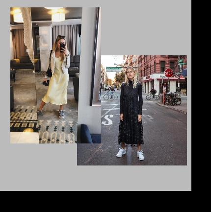 Женственные платья с кроссовками