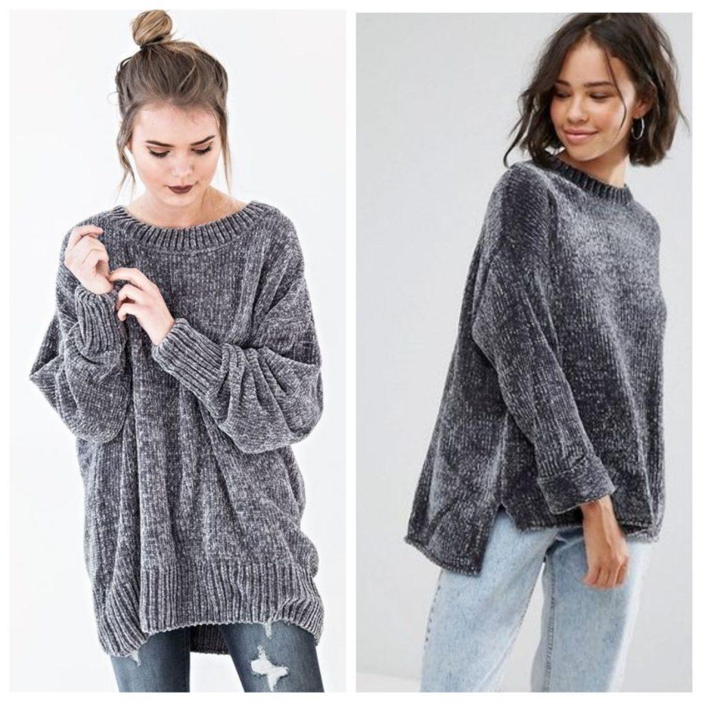 Серый плюшевый свитер
